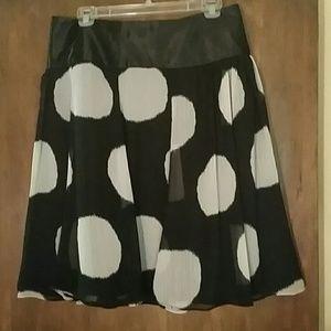 Kenar black and white dot skirt, size M